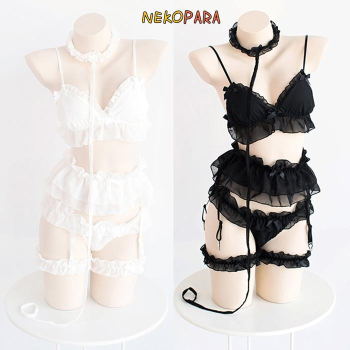 a0d8a4359ab Sexy Cute Pure Color Fairy Kei Women s Lolita Exotic Apparel 5Pcs Lingerie  Set Transparent Chiffon White   Black Y18102206