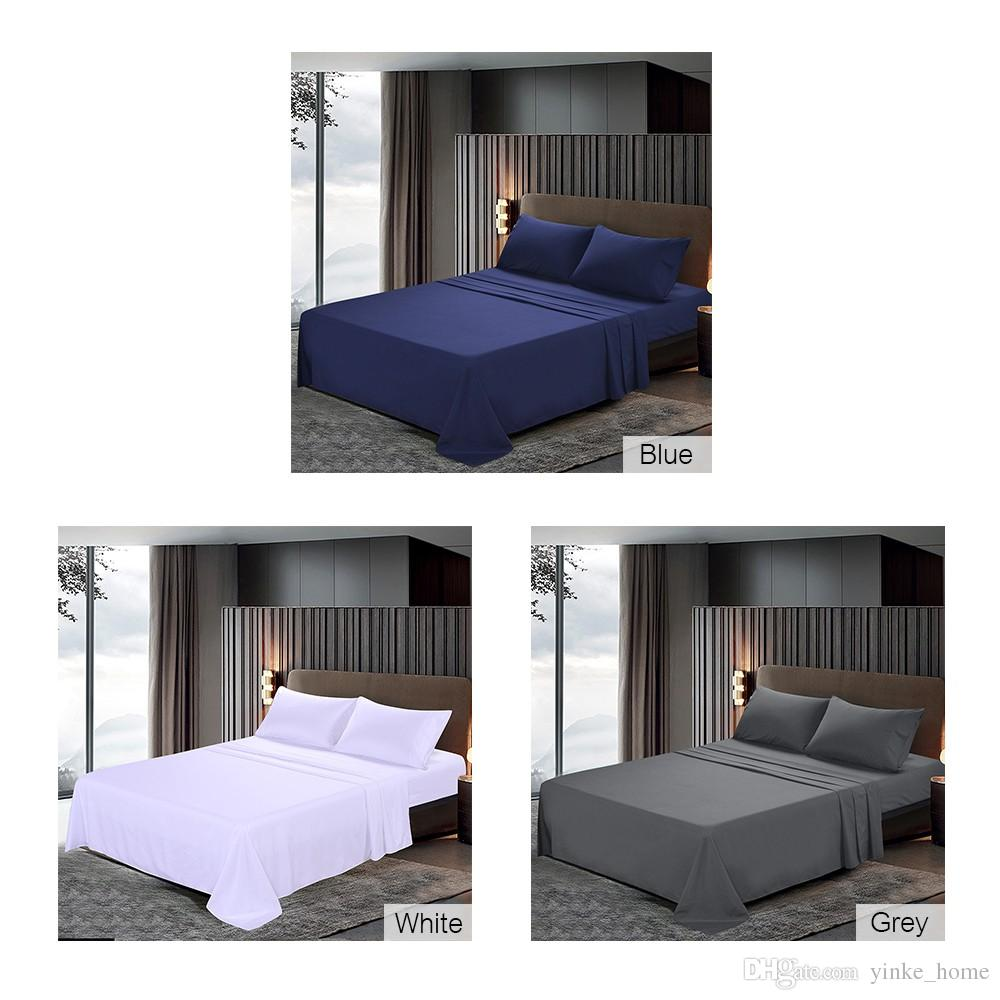8e5ebf8bd6d1 2019 Polyester Bed Sheet Fitted Flat Sheets Soft Brushed Microfiber Bedding  Set With Pillowcases Brief Pure Color White Navy Blue Grey King Queen From  ...