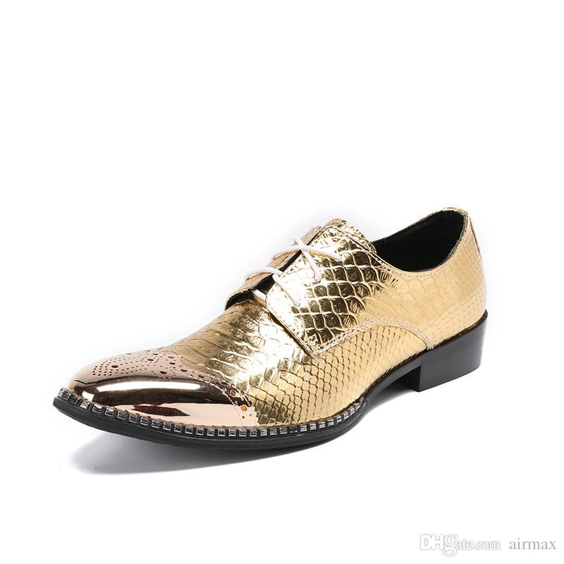 Luxury Mens Golden Dress Shoes British Designer Metal Toe Charm Lace Up Leather Shoes Python Snake Pattern Party Shoes 46