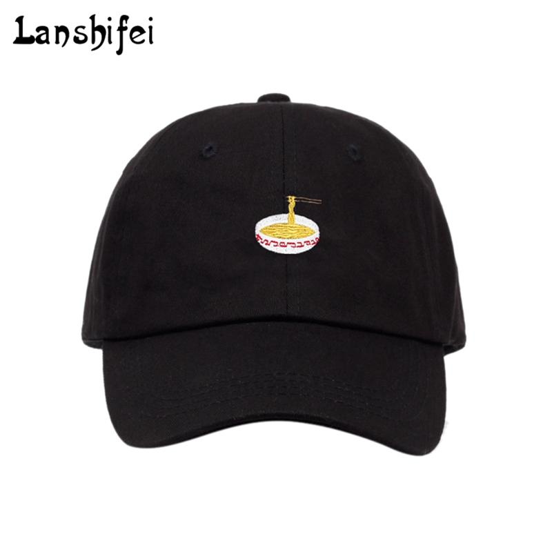 bc725fade99 2018 New Style Adjustable Instant Noodles Embroidery Cotton Baseball Hat  Unisex Baseball Cap Casual Dad Hats Girl Snapback Cap Army Hats Custom Caps  From ...