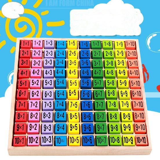 Multiplication Table Math Toys 10x10 Double Side Pattern Printed Board Colorful Wooden Figure Block Kids Educational Toys CCA9496 12pcs
