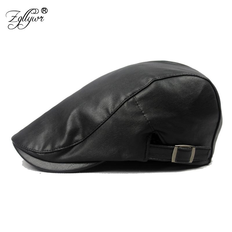 0ffddeccb24 2019 Zgllywr Winter Autumn Artificial PU Leather Beret Hats Unisex Men Women  Flat Visor Newsboy Cap Boina Solid Colors Adjustable Cap From Fotiaoqia