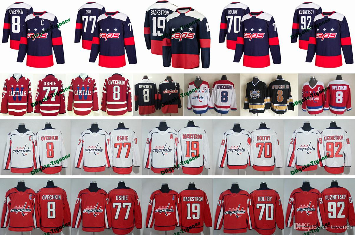huge selection of 3da7c d7451 2018 Stadium Series Winter Classic Washington Capitals Hockey Jerseys 8  Alex Ovechkin 77 TJ Oshie 92 Kuznetsov 19 Backstrom 70 Holtby Jersey