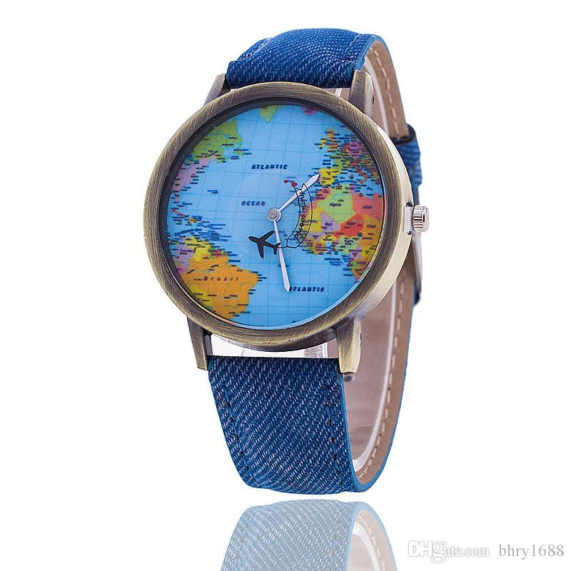 Unisex Men Leather World Map Watch Fashion Plane Printing Ladies