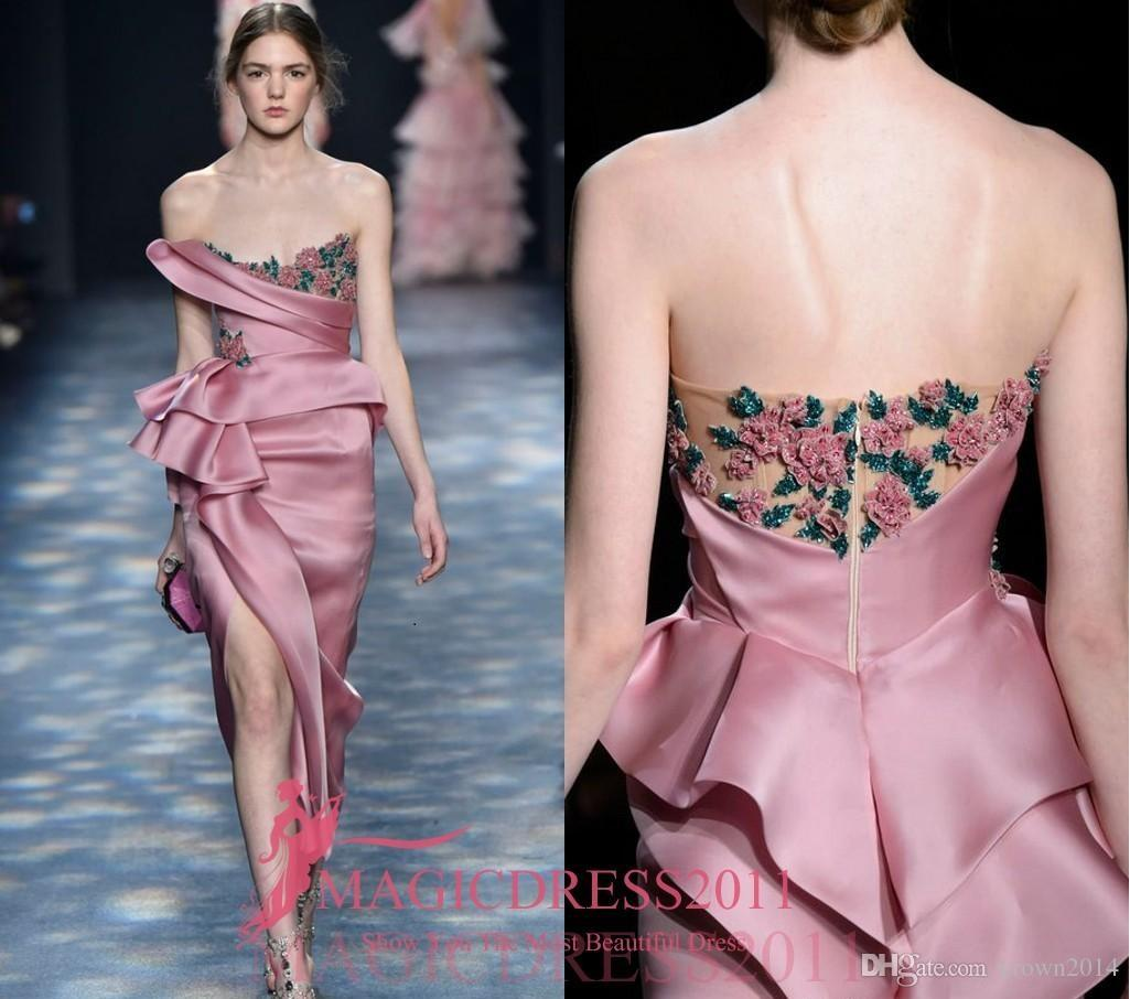 Pink Strapless Soft Satin Evening Gown Beaded Hand Draped Bodice With 3D Floral Applique Ruched Sheath High Slit Formal Prom Dresses