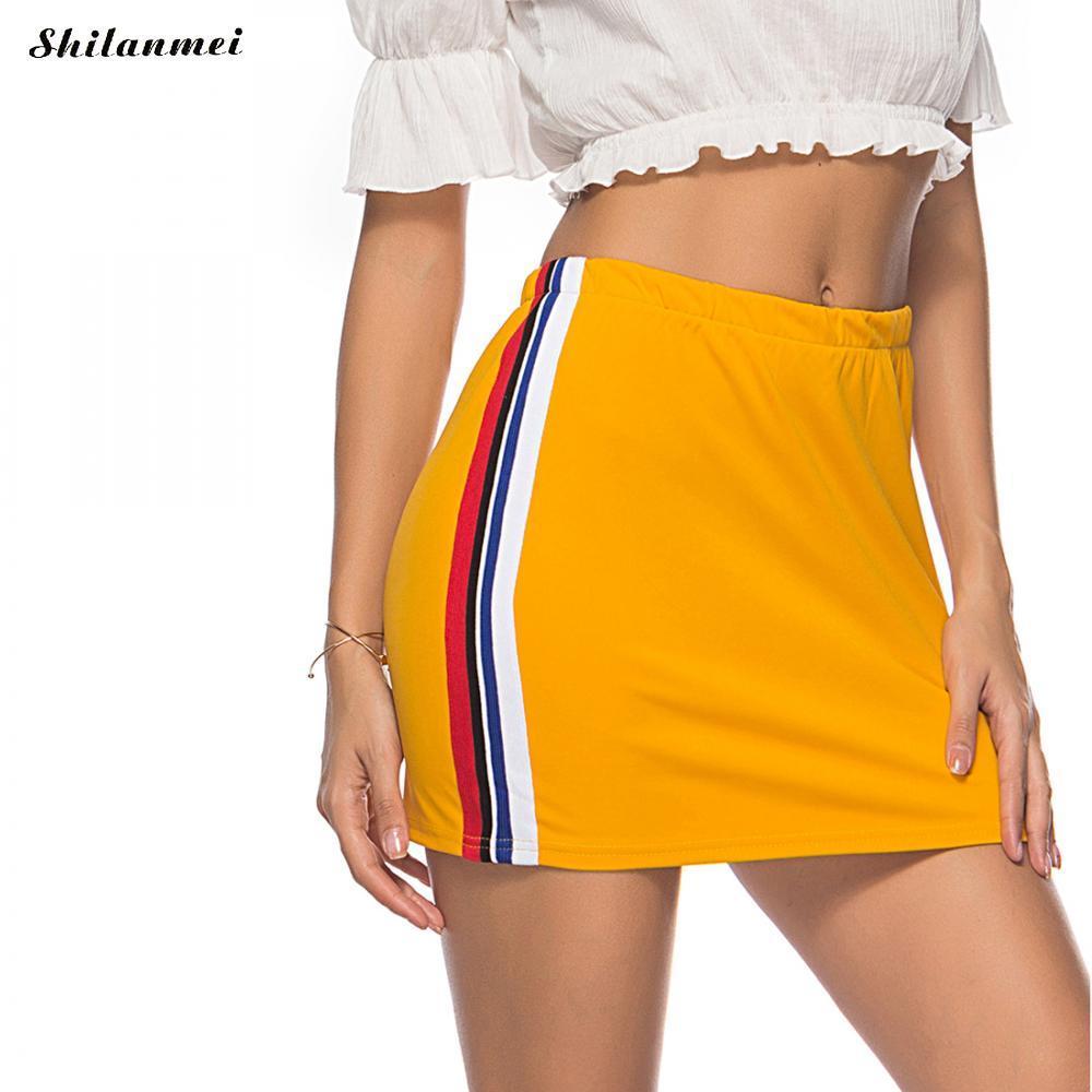 d389b0a9d 2018 verano sexy cintura alta faldas mujeres patchwork a rayas amarillas  cortas mini saias femme muchachas de las muchachas lápiz falda bodycon