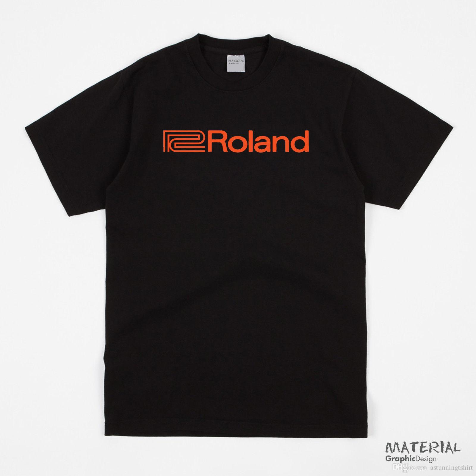 Roland Logo T-Shirt - AUDIO MUSIC PERCUSSION SYNTHESISER VDRUMS SYSTEMS  RETRO