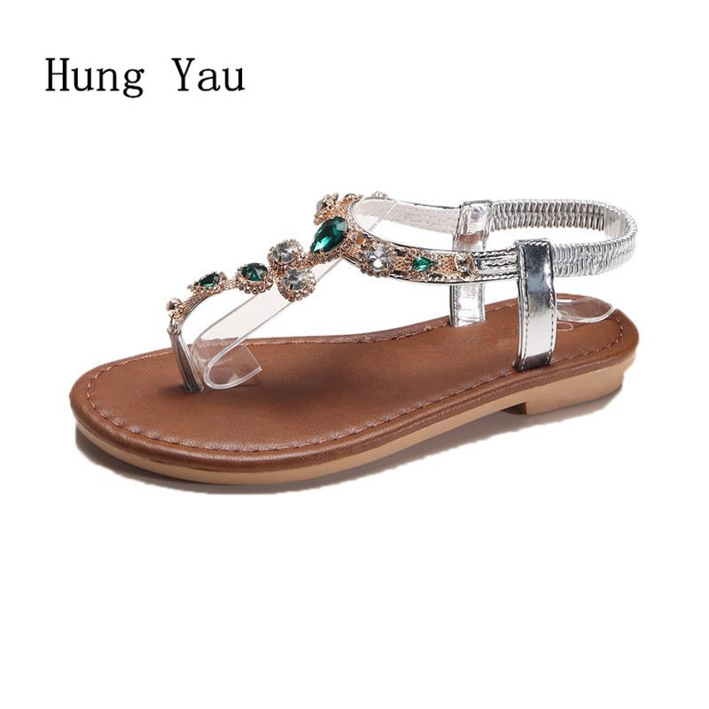 4cfb86a07f5 Women Sandals Flip Flops 2018 New Summer Fashion Rhinestone Wedges Shoes  Woman Slides Crystal Bohemia Lady Casual Shoes Female