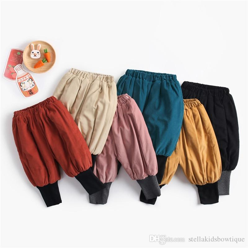 Best selling autumn and winter new children's clothing children's lantern pants plus velvet thick cotton corduroy men and women baby pants