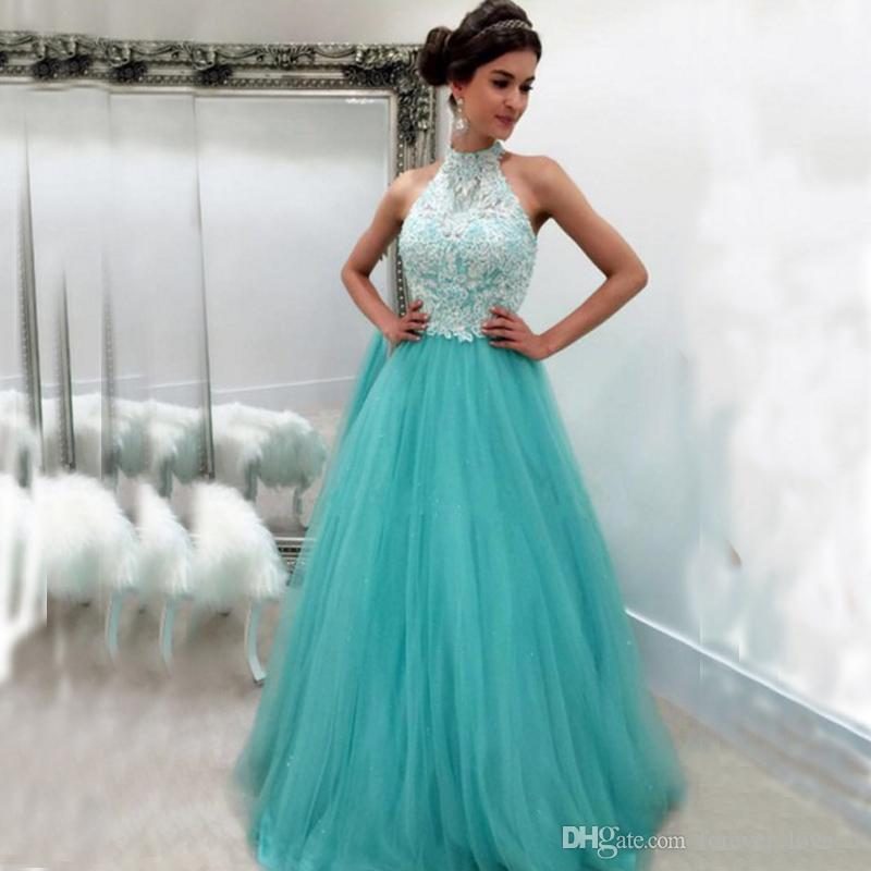 df0cd47c091 Sexy Halter Long Prom Dresses Sleeveless Beaded Sequins Lace Appliques Aqua  Blue Floor Length Formal Evening Party Gowns Short Cheap Prom Dresses Short  Lace ...