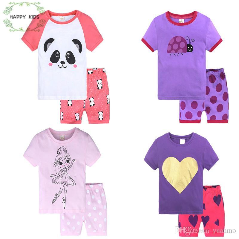 3debaf11b 2019 2018 Summer Pajamas Short Sleeve Tee + Shorts Cotton Boys Sleepwear  Kids Cartoon Pyjama Children Baby Girls Pajamas From Morenna, $21.62 |  DHgate.Com