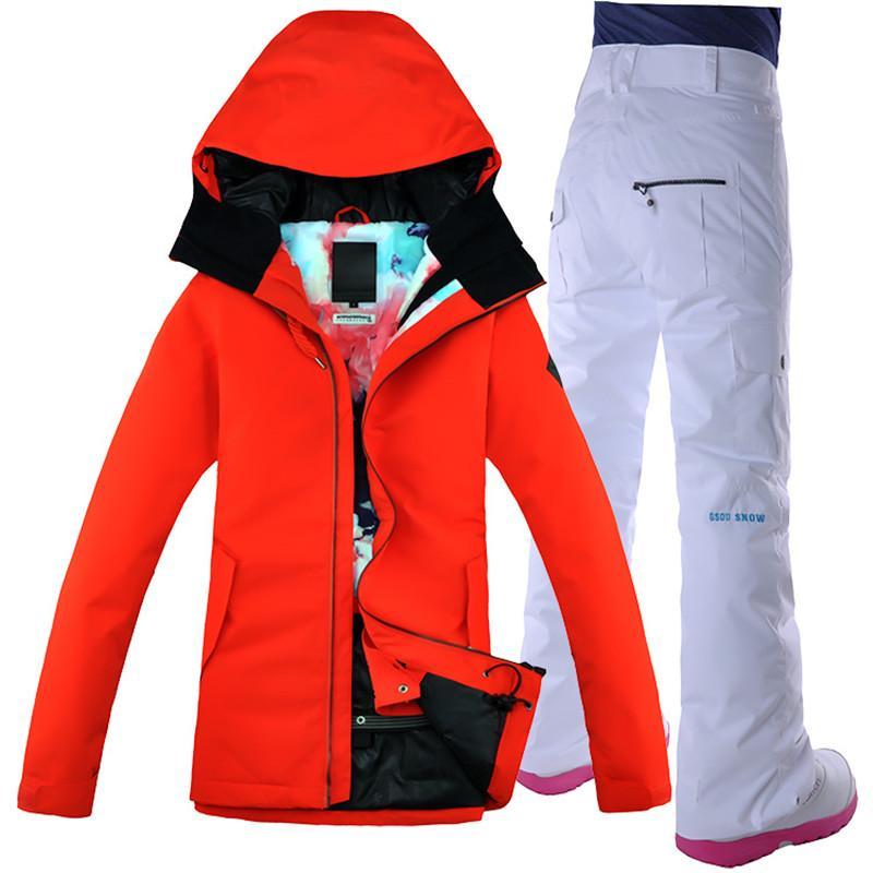 GSOU SCHNEE Frauen Skianzug Ski Jacke Hose Winddicht Wasserdicht Thermische Weibliche Winterbekleidung Hosen Outdoor Sportbekleidung Anzug