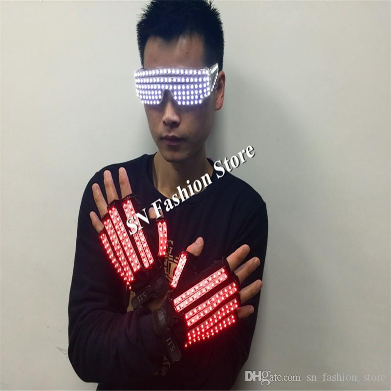 T3 Mens lighted gloves led costumes ballroom dance costum stage show led glass led gloves light gloves dj wears performance bar wear