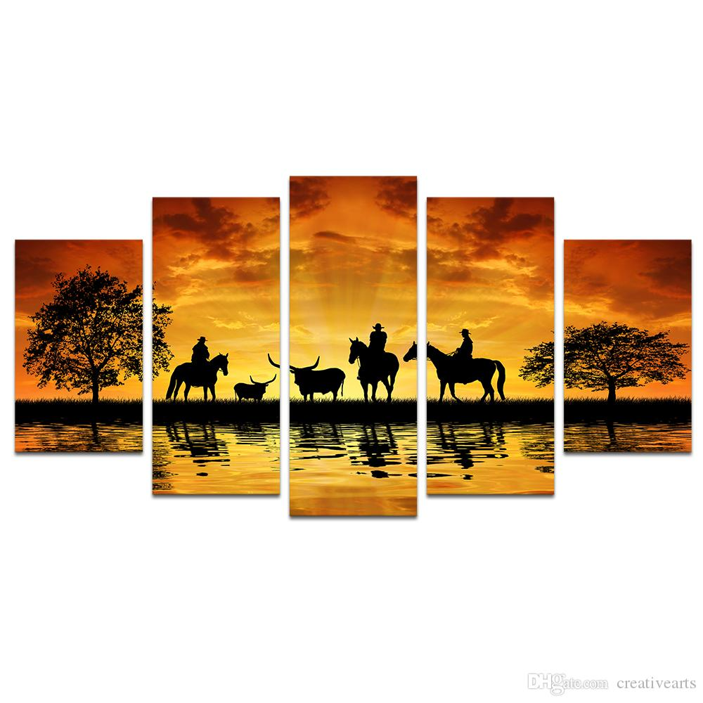 2018 Giclee Canvas Prints Cowboy On Horseback Country Scenery Big ...