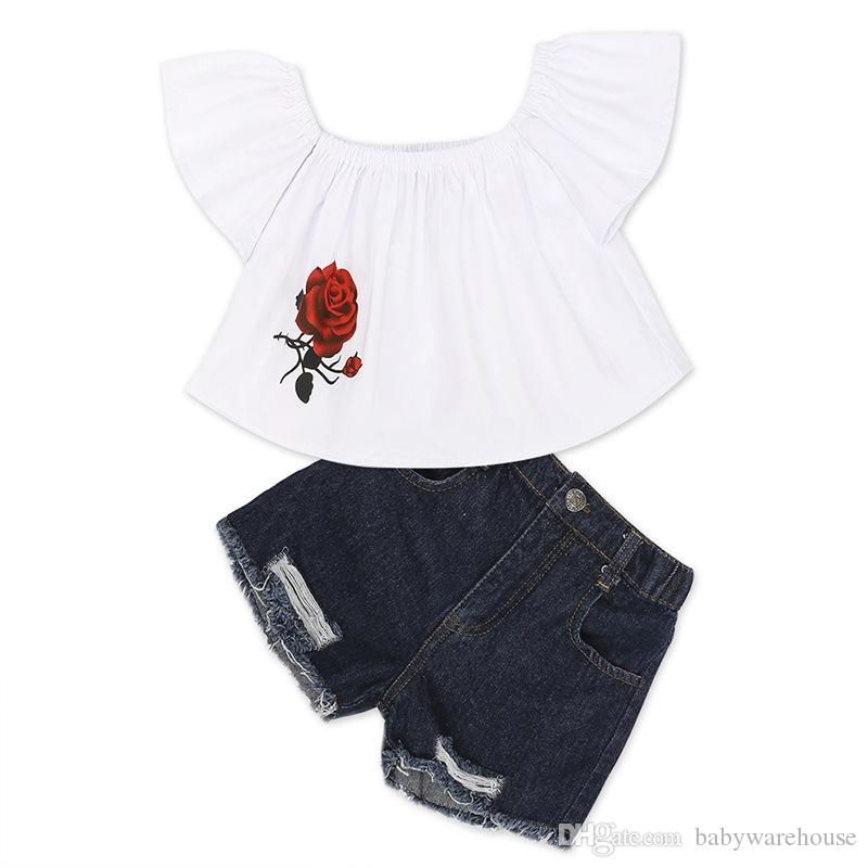 Ropa linda para niños pequeños 2018 Summer Kids Baby Girls Set de ropa Tops de flores + Pantalones cortos de mezclilla Trajes para niñas Ropa para niños de moda 2-7T