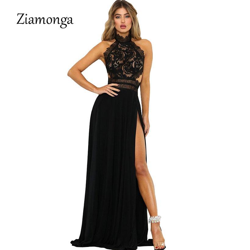 6ebdf183cd19 Ziamonga Sexy Split Lace Maxi Dress Women Elegant Summer Solid Halter Off  Shoulder Long Dresses Form Party Vestido De Festa Black Dresses Women Party  ...