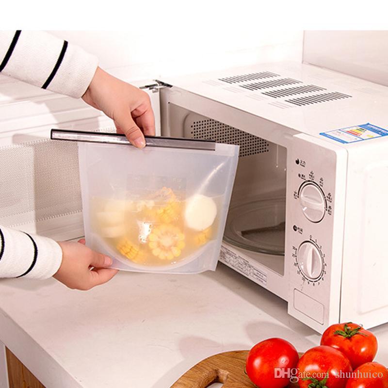 Silikon-Lebensmittelbeutel wiederverwendbare luftdichte Dichtung Essen Aufbewahrungsbehälter auslaufsicher ziplock Lebensmittelretter Küchengerät