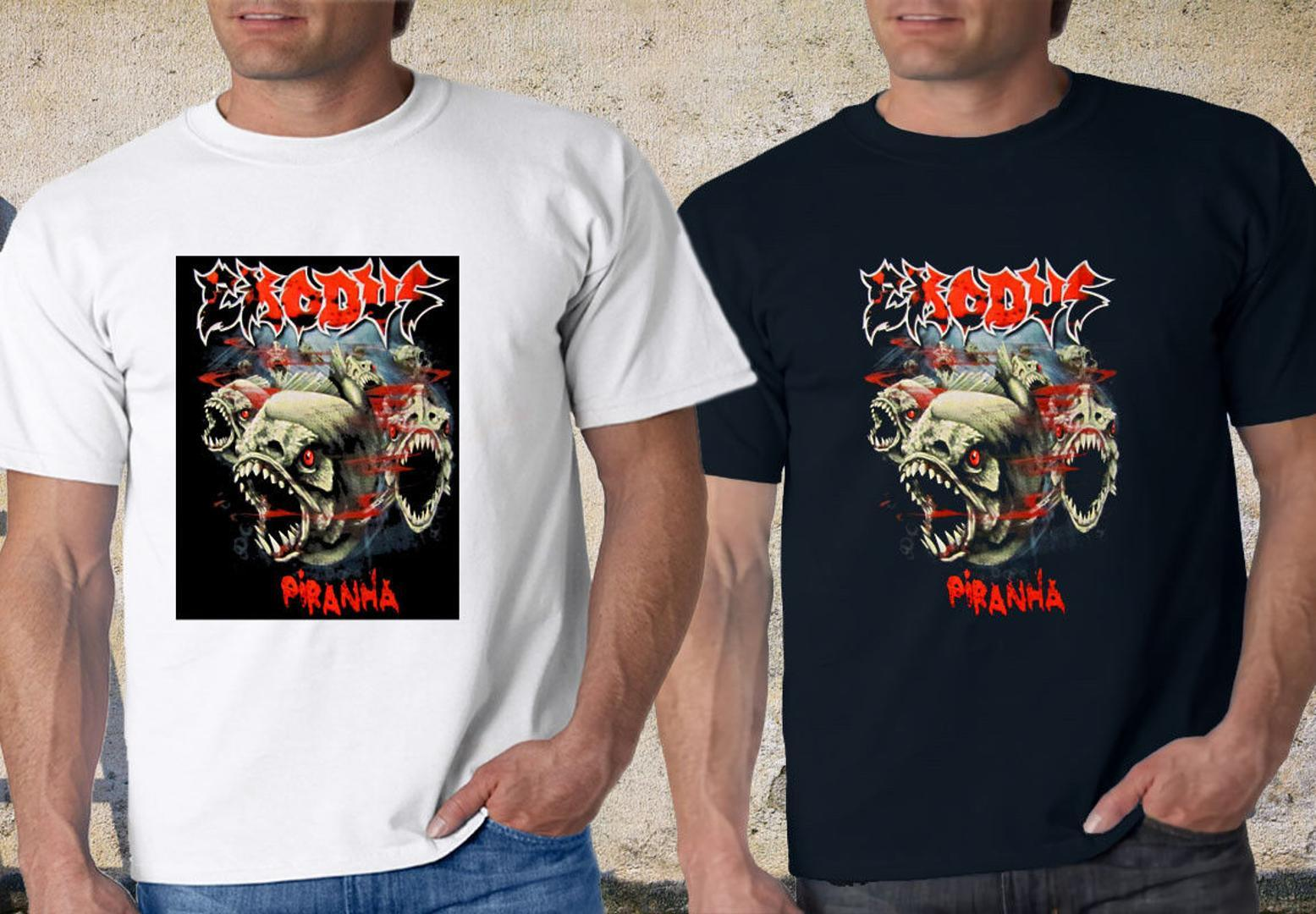 9dcc5cd632 EXODUS Bloody PIRANHA Men's Black & White T Shirt S-3XL custom design Tshirt  O-Neck Summer Personality Fashion Men T-Shirts