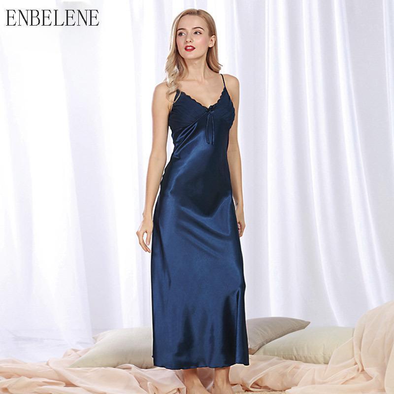 04b3171fa4b8 2019 2018 New Summer Women Silk Slit Long Nightdress Ladies Sexy Lace V  Neck Blue Black Red Female Nightgown Plus Size 3XXXL NH135 From Tuhua
