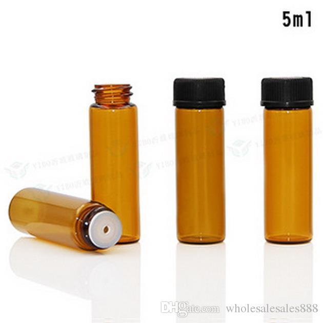 Toptan-200 adet 5 ml Mini Amber Sıvı Cam Şişe Orifis Redüktör ve Cap ile Küçük Uçucu Yağ Şişeleri Ücretsiz Kargo