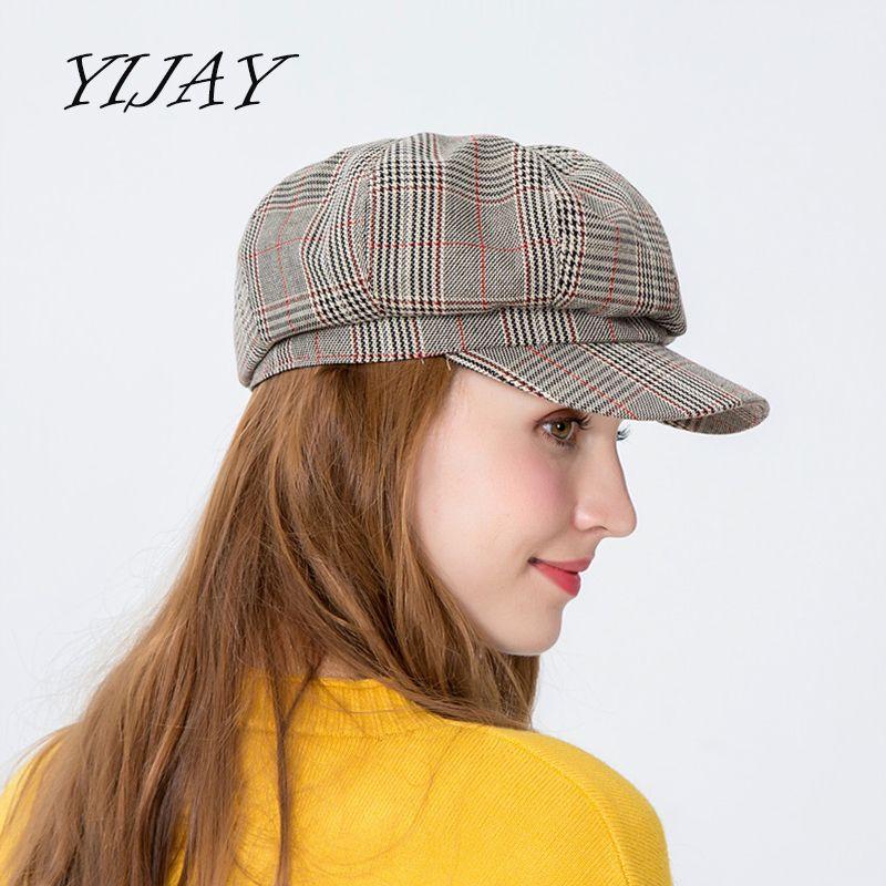 2019 Newsboy Cap Women Autumn Octagonal Caps Artist Painter Hats For Women  Men Beret Peaked Cap Female Male Vintage Plaid From Duweiha 832cc9cd782
