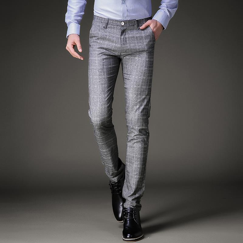 a40bb058c1 Fashion Mens Dress Pants Summer Formal Pants Slim Fit Suit Plaid Business  Casual Plus Size Wedding Pant Suits Men Trousers