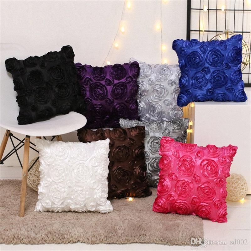 Square Throw Pillows Creative Design 3d Rose Flower Pillow Case Sofa