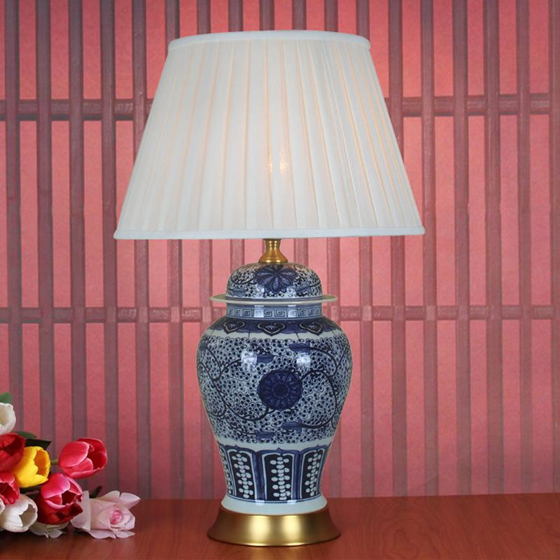 Art Chinese porcelain ceramic table lamp bedroom living room wedding table  lamp Jingdezhen night for bedroom