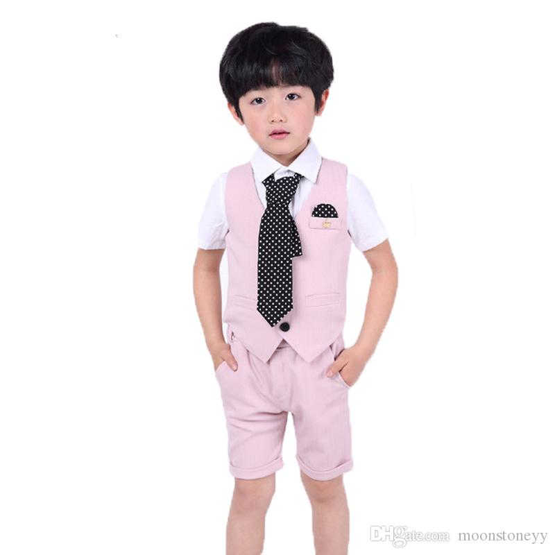 98f56f07c 2019 Brand Flower Boys Formal Suits Vest+Shorts Kids Clothing Sets ...