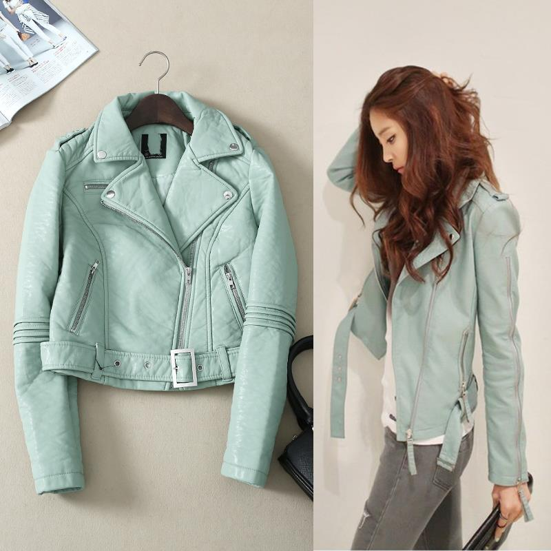 2019 New Green Leather Jacket Women Motorcycle Slim Casual Coat