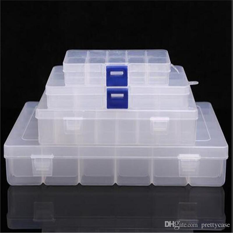 Plastic Storage Box Transparent Display Case Rectangle Nail Art Organizer Beads Earring Jewelry Container 10 15 24 36 Slots