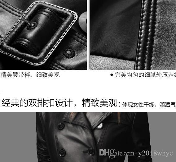 NEW Women's New Coat Faux / PU Leather Black Slim Fit Trench Coat Jacket Belt Overcoat