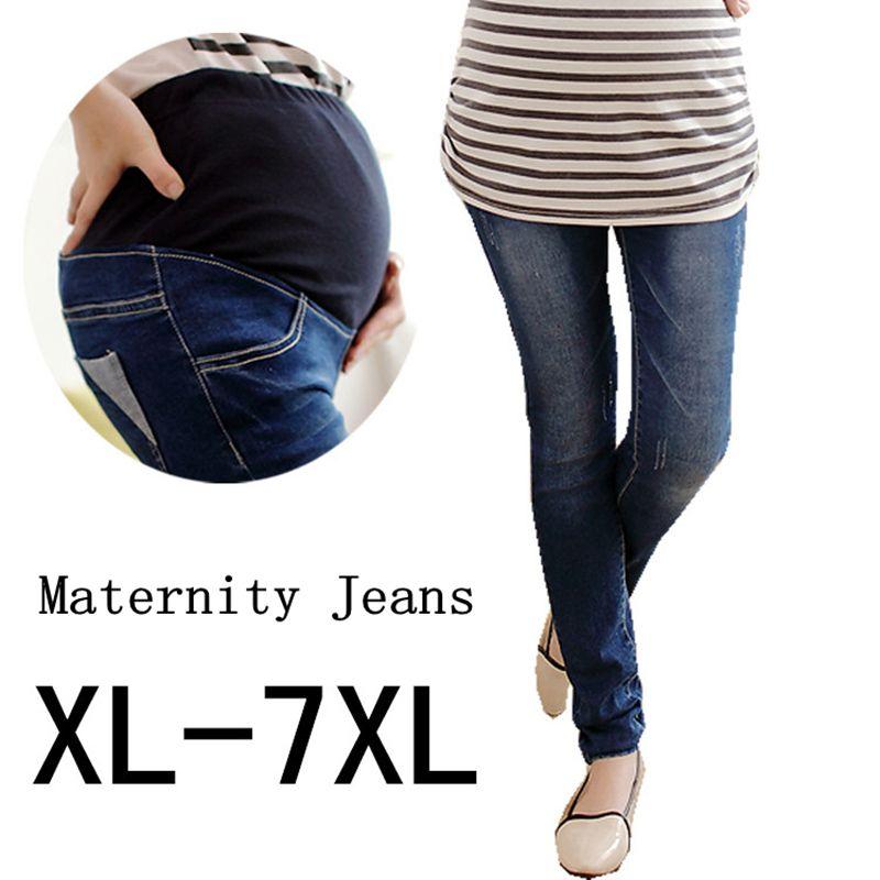 04fc469d8 Compre Nueva Llegada GB Kcool Maternity Jeans Plus Size XL 7XL Ropa De Embarazo  Pantalones De Mezclilla De Cintura Elástica Para Mujeres Embarazadas A ...