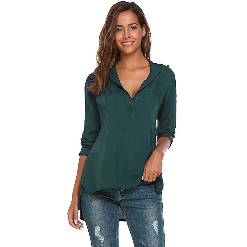 06f89f3e069 V Neck Women Blouse Shirt Ladies Plus Size Elegant Fashion Solid Button  Long Sleeve Slim Tops Blusas Shirt Clothes Black Online with  31.89 Piece  on ...