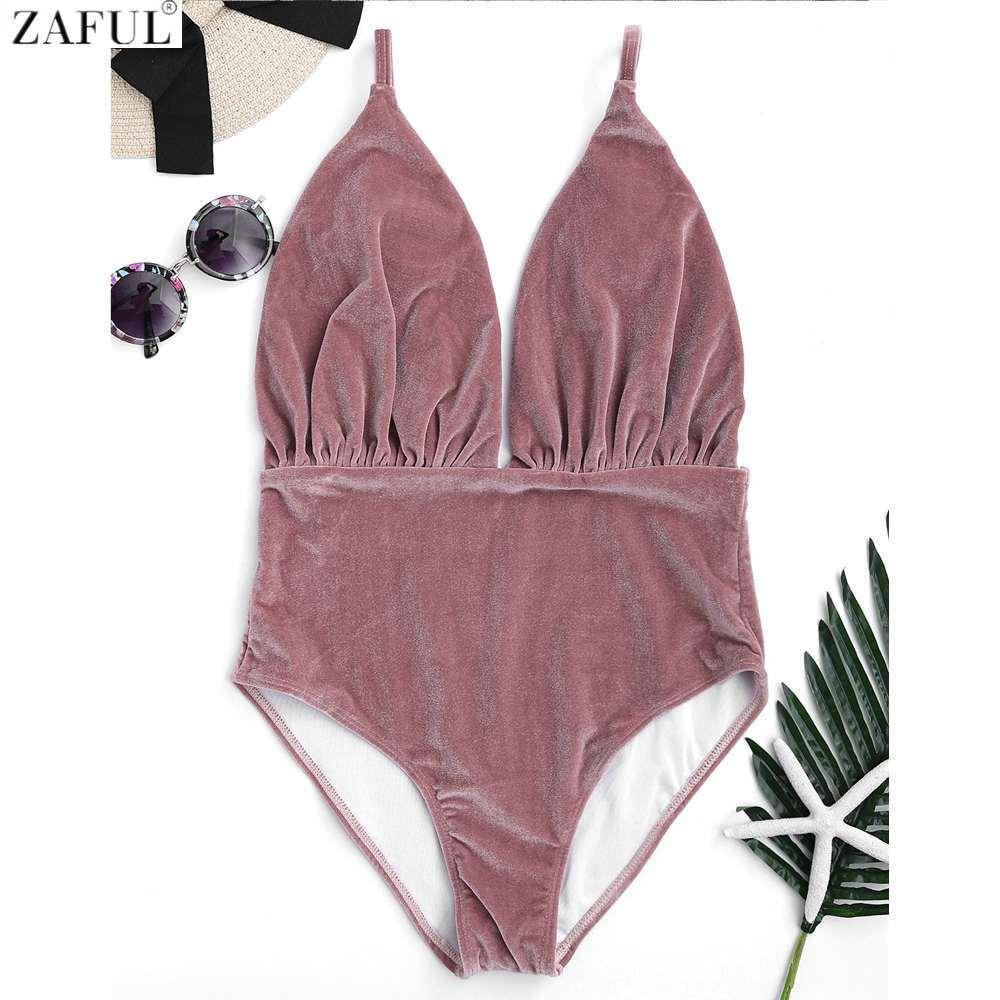 1697a7e54b18b 2019 Zaful 2017 Women New Velvet Plunge One Piece Swimsuit Sexy High  Waisted Plunging Neck Solid Color Swimwear Women Bathing Suits From  Beasy114, ...