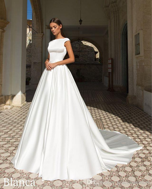 Simple Wedding Dress Hire: Discount Pure Satin A Line Wedding Dresses Cap Sleeve