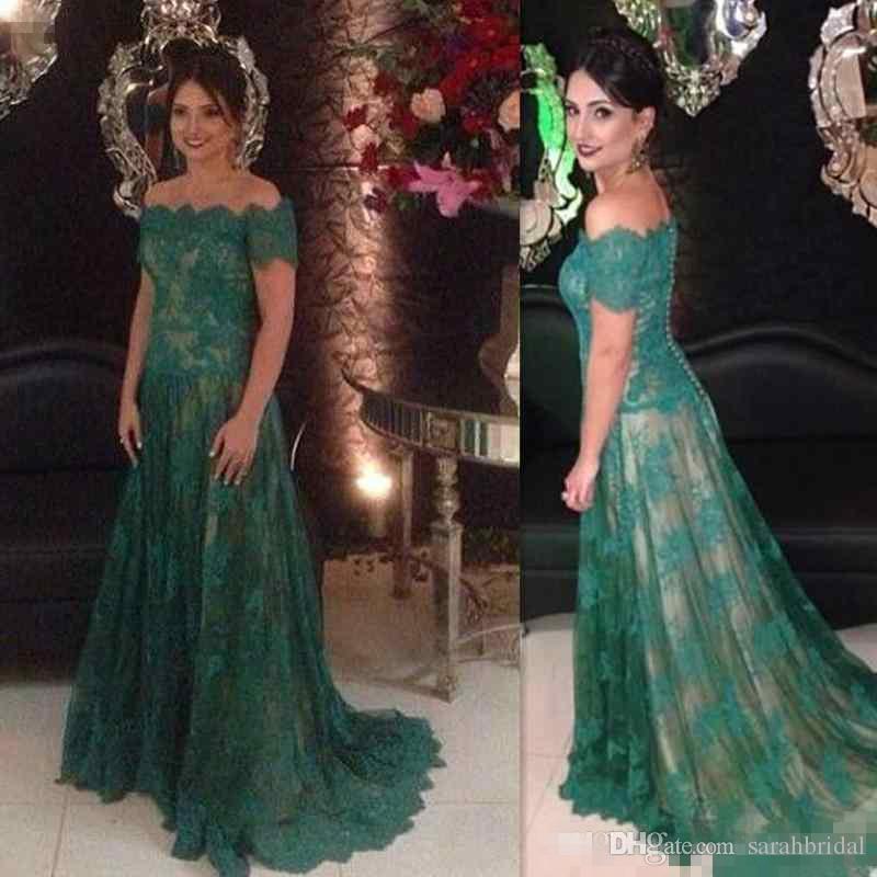 Mother Of The Bride Dresses Hunter Green Lace Off The Shoulder Elegant Long Gowns For Groom Mother Formal Evening Dresses Gowns