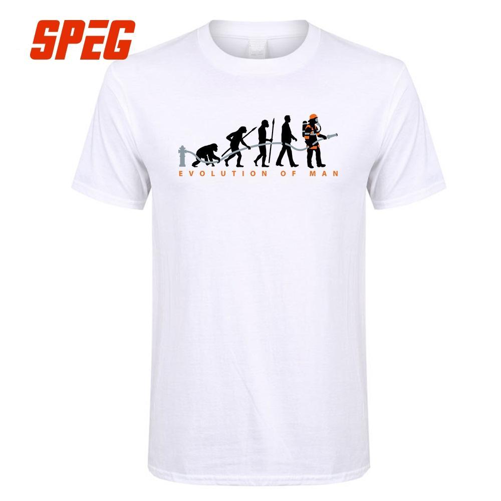 9ed87ee9c260e Compre Homens Camiseta Evolução Do Homem Bombeiro Homens O Pescoço De Manga  Curta De Algodão Camisetas Hot Barato T Shirts De Design Personalizado De  Silan
