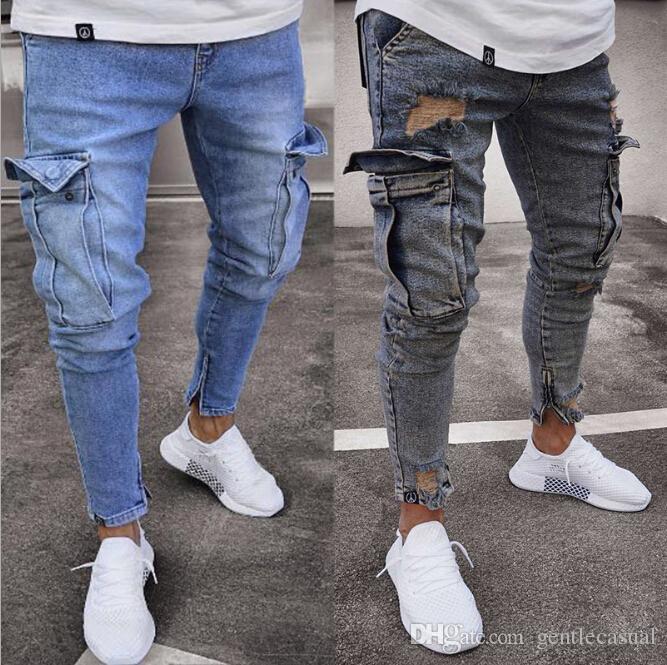 c05bf14e05 Compre Pantalones Vaqueros Rasgados Para Hombre Biker Streetwear Pantalones  Vaqueros Azules Pantalones Largos Delgados Pantalones Lápiz Vaqueros Male  ...