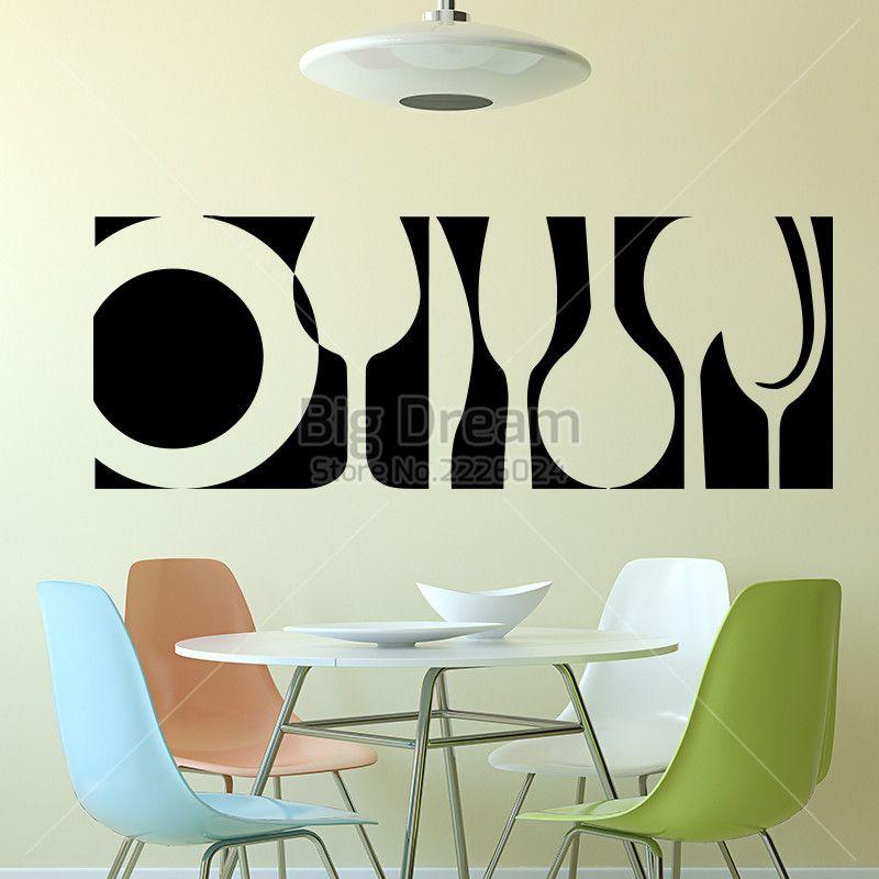 Art Design Tableware Wall Sticker Home Decor DIY Kitchen Interior Mural Vinyl Dining Room Decal From Bright689