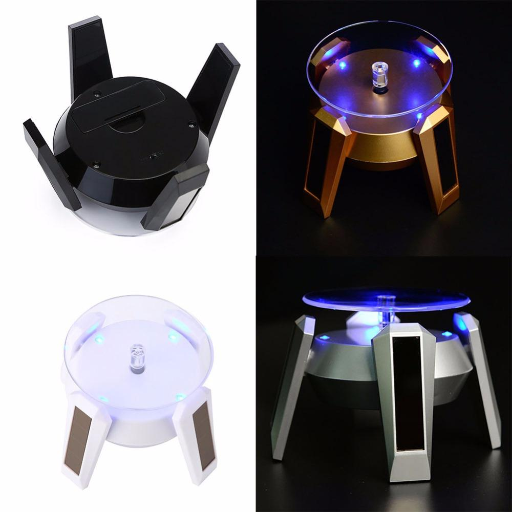 New Solar&Battery Dual Use Automatic Rotating Showcase Jewelry Watch Mobile Phone 360 Degre Turntable Light Stand Display#252213