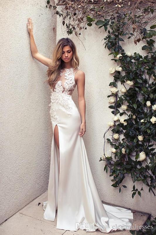 패션 쉬어 레이스 아플리케 슬림 인어 웨딩 드레스 3D 꽃 장식 섹시한 높은 스윕 스위프 기차 신부 드레스 2018 사용자 정의 민소매