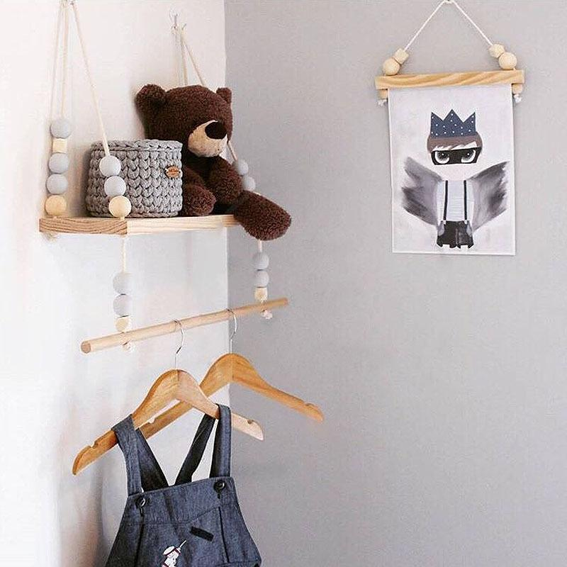 2019 kids baby nordic style wall wooden pearl shelf with clothes rh dhgate com scandi style baby bouncer scandi style baby furniture