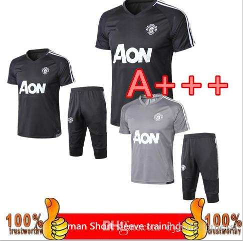 410ed6786 2019 3 4Short Sleeve Training Suit 2018 UTD Tracksuit Survetement POGBA  Football Training Kit Soccer Chandal 17 18 LUKAKU IBRAHIMOVIC United Trai  From ...