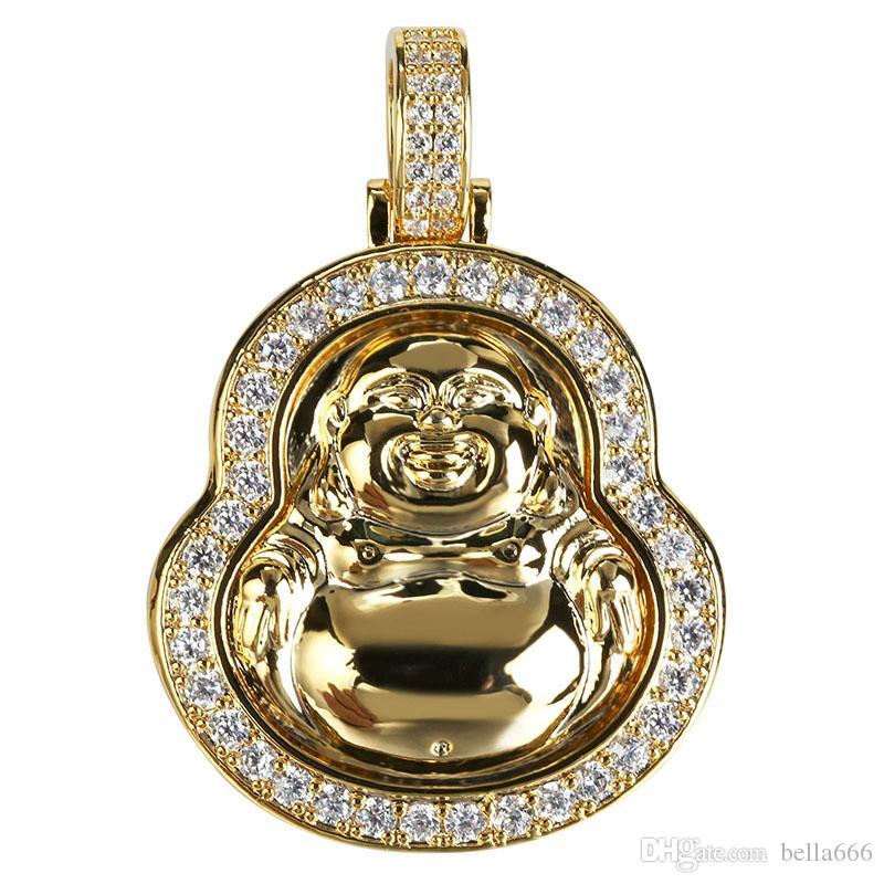 Venda quente Hiphop Maitreya Pingente de Colar de Prata Cor de Ouro Pavimentada Micro Cubic Zirconia Charme Colares Com Corda Chian Rapper Jóias