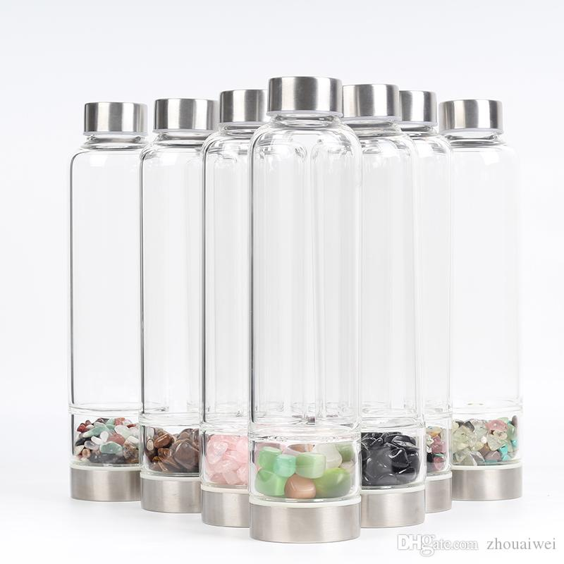 New Product Creative Natural Quartz Crystal Glass Water Bottle Gravel Irregular Stone Cup Point Wand Healing Hydrotherapy Crushed stone Cup