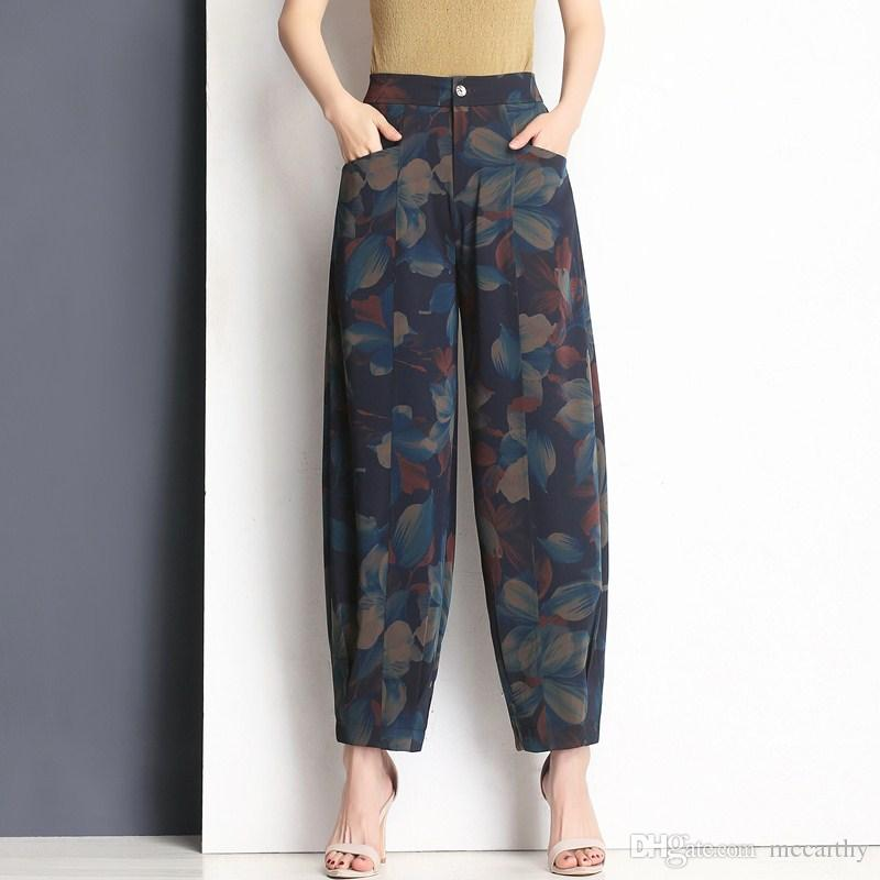 086a3e4a8d3 High Waist Print Harem Pants Women Plus Size Black Loose Casual ...