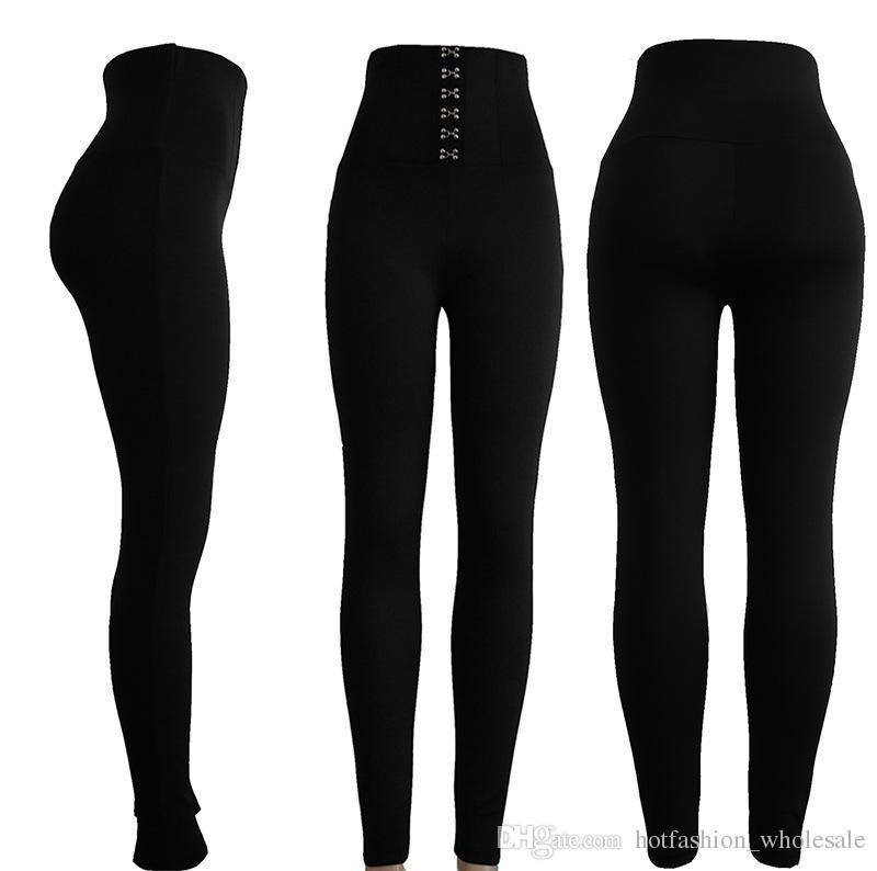 ragazze in vita alta indossare collant donne migliori qualità palestra sport yoga pantaloni leggings sport moda con pulsante nero S M L X