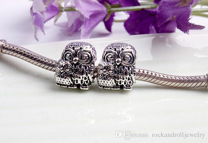 Carino fascino in lega di due gufi Pandora bracciale catena del serpente o collana gioielli di moda branello allentato nuovo arrivo