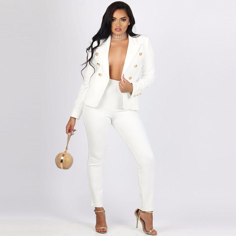 c2d87bb2ab2e Acheter Plus La Taille Noir Blanc Femmes 2 Deux Piece Set Blazer + Long  Pantalon Costumes Femme Manteau Veste Costume Elecasual Mode Bodycon Tenue  De  34.6 ...